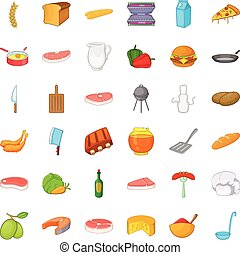 スタイル, アイコン, 食物, セット, 漫画, bbq