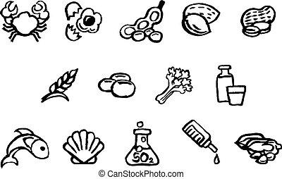 スタイル, アイコン, 食物, 水彩画, 安全, ブラシ, インク