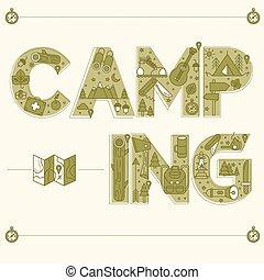 スタイル, アウトライン, キャンプ, 葉書, 旅行, lettering.