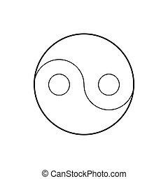 スタイル, アウトライン, シンボル, yin yang, アイコン
