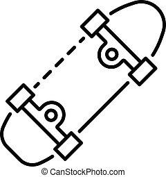 スタイル, アウトライン, スケート 板, アイコン, スポーツ
