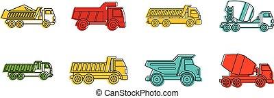 スタイル, アウトライン, セット, 色, 建設, トラック, アイコン