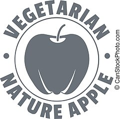 スタイル, アップル, 自然, 型, 菜食主義者, ロゴ