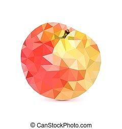 スタイル, アップル, low-poly, アップル, 三角, 隔離された, 背景, 白, 3d, 幾何学的, 三角形, illustration.