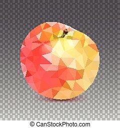 スタイル, アップル, low-poly, アップル, 隔離された, 三角, 背景, 幾何学的, 3d, 透明, 三角形, illustration.