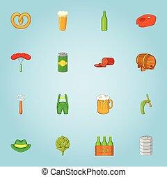 スタイル, アルコール, アイコン, セット, ビール, 漫画