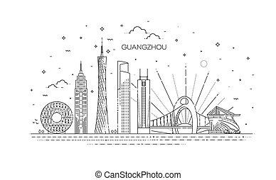 スタイル, イラスト, 線である, スカイライン, ベクトル, guangzhou