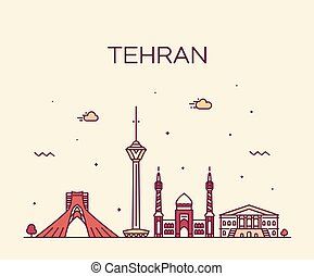 スタイル, イラン, 線である, テヘラン, スカイライン, ベクトル, 最新流行である
