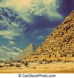 スタイル, エジプト, 型, -, ギザ, カイロ, レトロ, ピラミッド