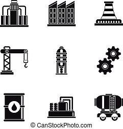 スタイル, オイル, アイコン, セット, 単純である, 生産