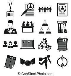 スタイル, オフィスアイコン, セット, 単純である, チームワーク