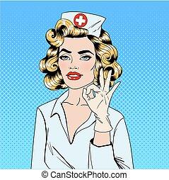 スタイル, オーケー, ポンとはじけなさい, かなり, 芸術, 看護婦, ジェスチャーで表現する