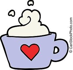 スタイル, カップ, いたずら書き, コーヒー, 手, 引かれる, 漫画