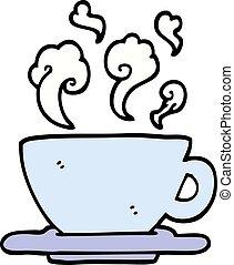 スタイル, カップ, いたずら書き, コーヒー, 手, 暑い, 引かれる, 漫画