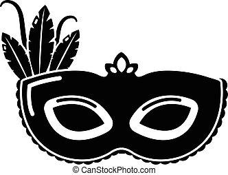スタイル, カーニバル, 単純である, マスク, 黒, アイコン