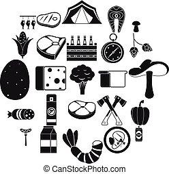 スタイル, キャンプ, アイコン, セット, 単純である, 旅行
