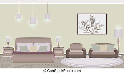 スタイル, クラシック, ホテル寝室, 内部, 家具
