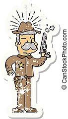 スタイル, グランジ, アメリカ西部地方, 保安官, 入れ墨, ステッカー