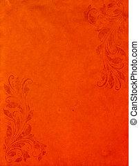スタイル, グランジ, ペーパー, オレンジ, 古い, 背景, victorian, 型