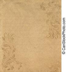スタイル, グランジ, 型, victorian, ペーパー, 手紙, 古い