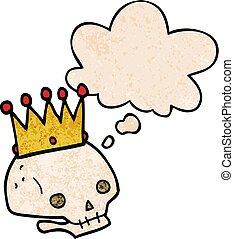 スタイル, グランジ, 頭骨, パターン, 王冠, 手ざわり, 考え泡, 漫画