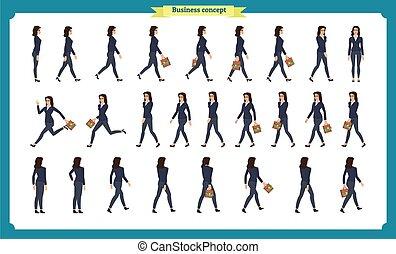 スタイル, コレクション, 歩きなさい, active., movements., 光景, woman., 柄, ビジネス, 動くこと, 操業, 側, 前部, 漫画, 平ら, 特徴, 変化, 歩くこと, セット