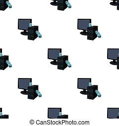 スタイル, コンピュータ, illustration., hackers, シンボル, みみず, 隔離された, バックグラウンド。, ベクトル, ハッキング, アイコン, 白, 漫画, 株