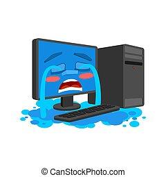 スタイル, コンピュータ, isolated., 叫び, pc, 涙, ベクトル, 叫ぶこと, 漫画