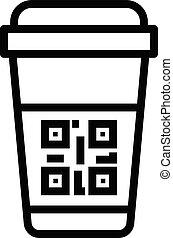 スタイル, コード, アウトライン, カップ, プラスチック, qr, アイコン