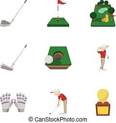 スタイル, ゴルフ, アイコン, セット, ゲーム, 漫画