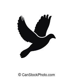 スタイル, シルエット, 単純である, 飛行, 鳩, 側, アイコン