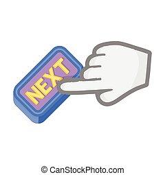 スタイル, シンボル, web., イラスト, 漫画, クリック, インターネット商業, 単一, ベクトル, next., アイコン, ボタン, 株