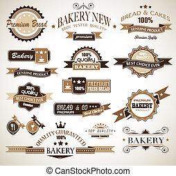 スタイル, スタイル, 優れた, themed, 型, text., 別, コレクション, 形, パン屋, 場所, labels., たくさん, あなたの