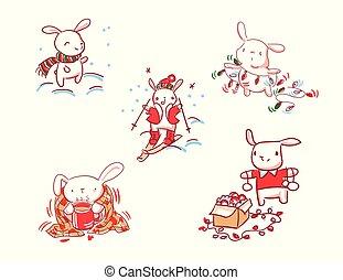 スタイル, セット, いたずら書き, 特徴, うさぎ, 年, 新しい, クリスマスカード