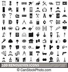 スタイル, セット, アイコン, 単純である, 100, 改修