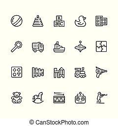 スタイル, セット, アウトライン, editable, ストローク, おもちゃ, アイコン