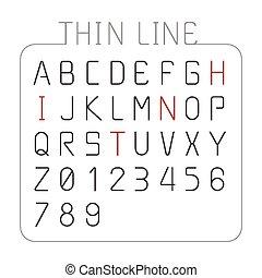 スタイル, セット, アルファベット, 特徴, ベクトル, デザイン, 薄いライン, 壷