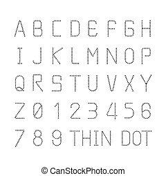 スタイル, セット, アルファベット, 特徴, ベクトル, デザイン, 薄くなりなさい, 壷, 点