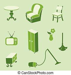 スタイル, セット, コレクション, 主題, レトロ, 家具