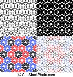 スタイル, セット, パターン, seamless, イスラム教, ベクトル, 背景, アラビア