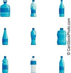 スタイル, セット, プラスチック, 水のビン, 漫画, アイコン