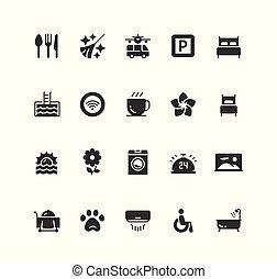 スタイル, セット, ホテル, ファシリティ, ベクトル, サービス, アイコン, glyph