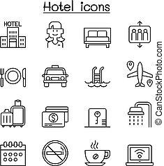 スタイル, セット, ホテル, 薄いライン, アイコン