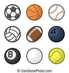 スタイル, セット, ボール, バックグラウンド。, ベクトル, 白, スポーツ, 漫画
