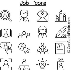 スタイル, セット, &, 仕事, 薄いライン, 雇用, アイコン