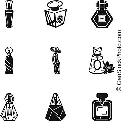 スタイル, セット, 化粧品, 香水, 単純である, びん, アイコン