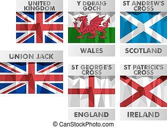 スタイル, セット, 北, アイコン, 組合, スコットランド, イギリス\, polygonal, 旗, アイルランド, ジャッキ, ウェールズ