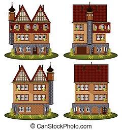 スタイル, セット, 古い, houses.