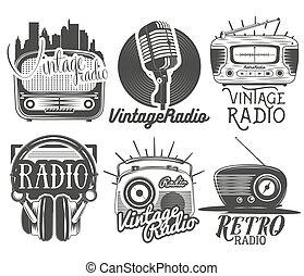 スタイル, セット, 型, ラベル, 隔離された, バックグラウンド。, ベクトル, ラジオ, 音楽, 白