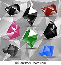 スタイル, セット, 多角形, カラフルである, 抽象的, ラベル, 現代
